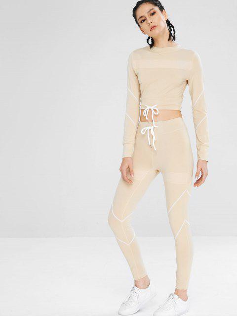Kordelzug Gym T-Shirt und Leggings Set - Blanchierte Mandel M Mobile