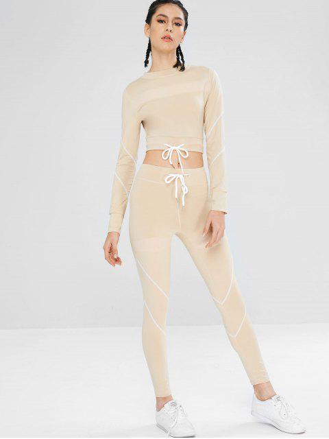 Conjunto de leggings y leggings de gimnasia con cordón - Blanco Almendra L Mobile