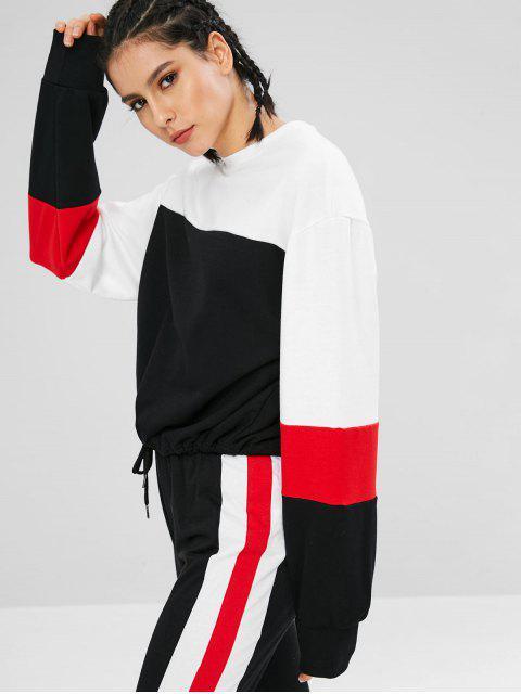 women's Drawstring Color Block Athletic Sweatshirt - BLACK L Mobile