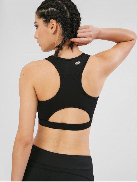 fashion Sport Cut Out Racerback Gym Bra - BLACK L Mobile