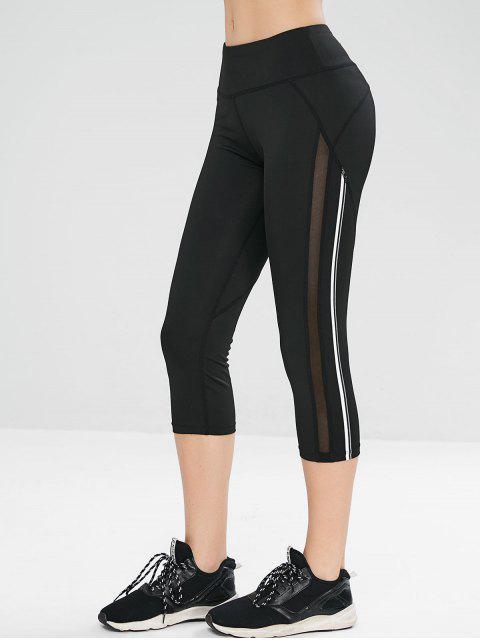 women Mesh Insert Capri Gym Yoga Leggings - BLACK M Mobile