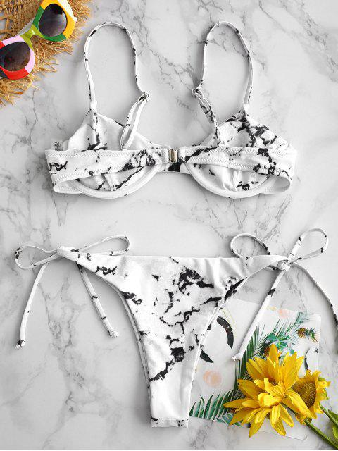 womens ZAFUL Marble Underwire Bikini Set - WHITE L Mobile