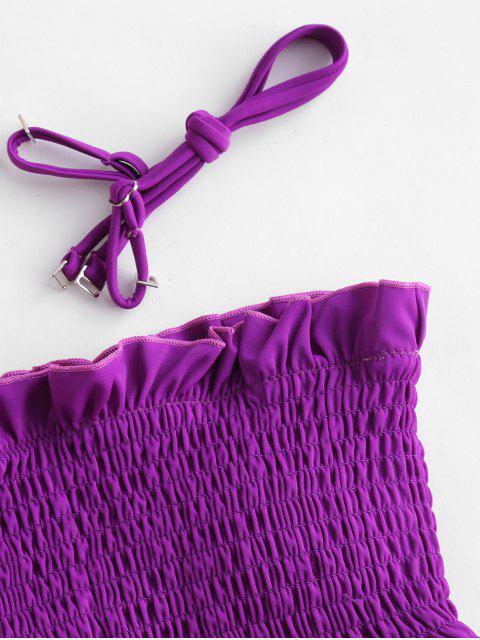 sale ZAFUL Ruffles Braided Smocked Bikini Set - DARK ORCHID M Mobile