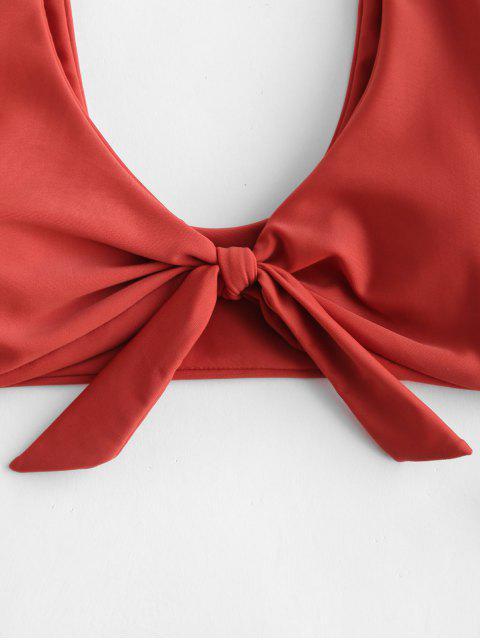 shops ZAFUL Front Knot Plunge Bikini Set - CHESTNUT RED L Mobile