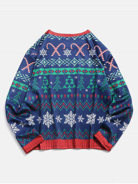 Plus Size Christmas 3D Printed Pullover T-shirt - 深藍 2XL Mobile