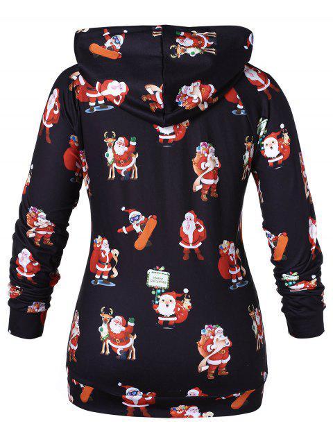 Plus Size Santa Claus Print Christmas Hoodie - 黑色 2X Mobile