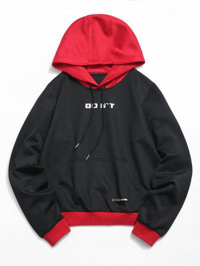 ZAFUL Color Block Pouch Pullover Hoodie - Black L