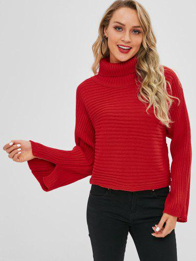 Solid Color Batwing Sleeve Sweater - Red