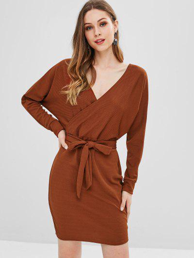 2019 Long Dolman Sleeve Ribbed Surplice Dress In BROWN XL  97a67950448c