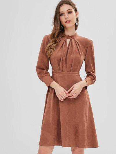 Pleated Keyhole Suede Dress - Tiger Orange L ... f28e538d7f5d
