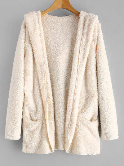 Fluffy Hooded Open Front Teddy Coat - Warm White M