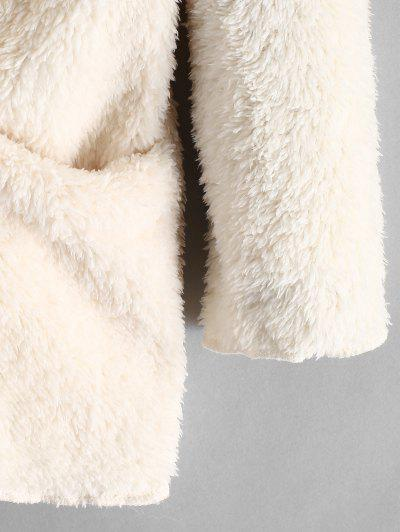 ZAFUL / Fluffy Hooded Open Front Teddy Coat