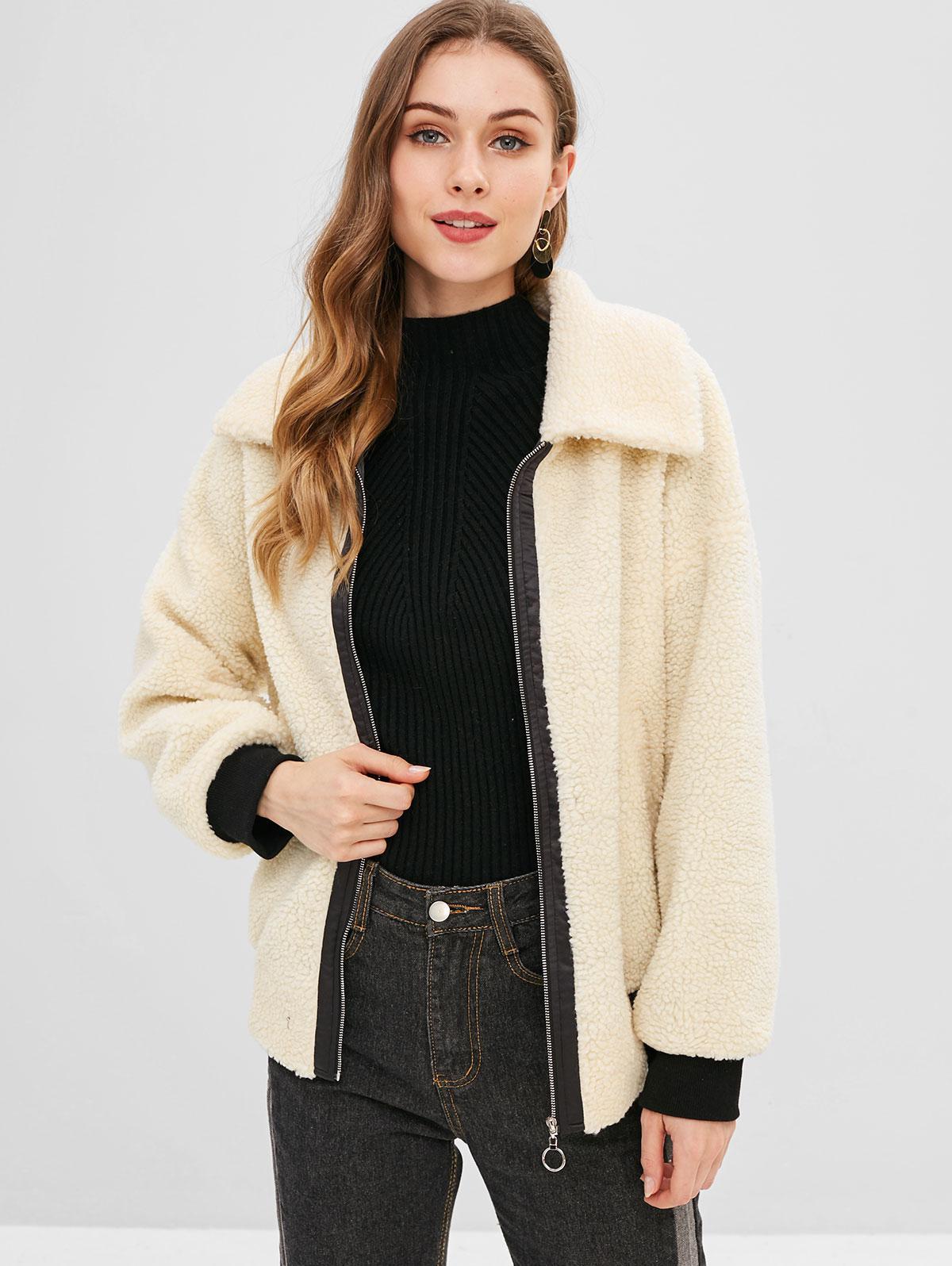 ZAFUL Contrast Edge Zipper Faux Fur Coat