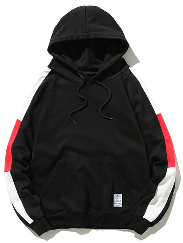 Pouch Pocket Contrast Color Drawstring Hoodie, Black