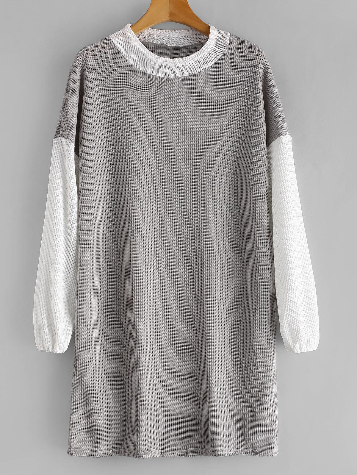 Long Sleeve Two Tone Sweater Dress