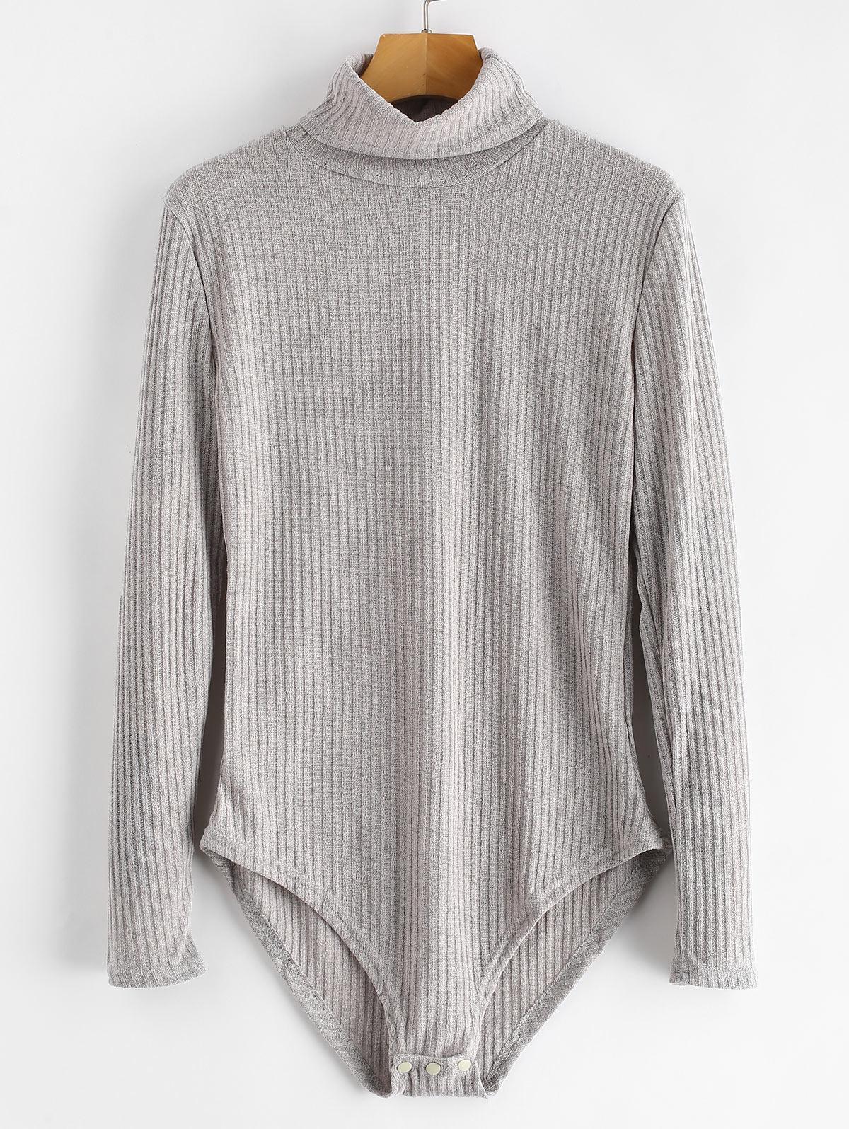 Turtleneck Ribbed Knit Bodysuit