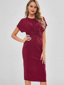 فستان ميدي بقصة ضيقة - نبيذ احمر S