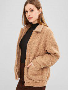 ZAFUL Zip Up Pockets Teddy Coat