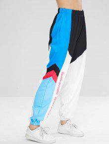 سروال لون كتلة الرسم - متعدد L