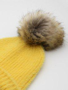 12% OFF  2019 Winter Flanging Pom Pom Beanie In YELLOW  43f23351ccfc