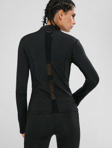 Zip Mesh Panel Sport Gym Jacket
