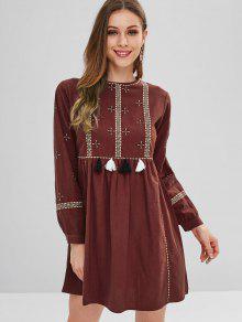 فستان مزين بشراشيب صغير - كستناء S