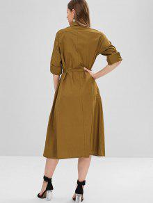 522046856a80 25% OFF  2019 Belted Button Up Midi Shift Shirt Dress In TIGER ...