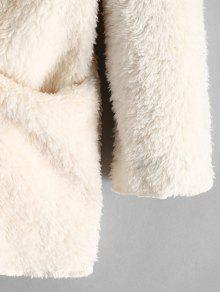 03befb5f57c 44% OFF  2019 Fluffy Hooded Open Front Teddy Coat In WARM WHITE