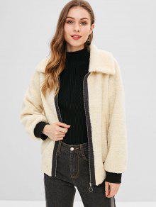 Zipper Faux Fur Coat