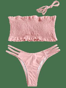 8d22adff8e1b5 44% OFF  2019 ZAFUL Ruffles Braided Smocked Bikini Set In LIGHT PINK ...