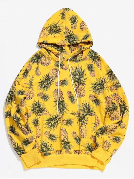 unique Pineapple Printed Casual Hoodie - YELLOW XL