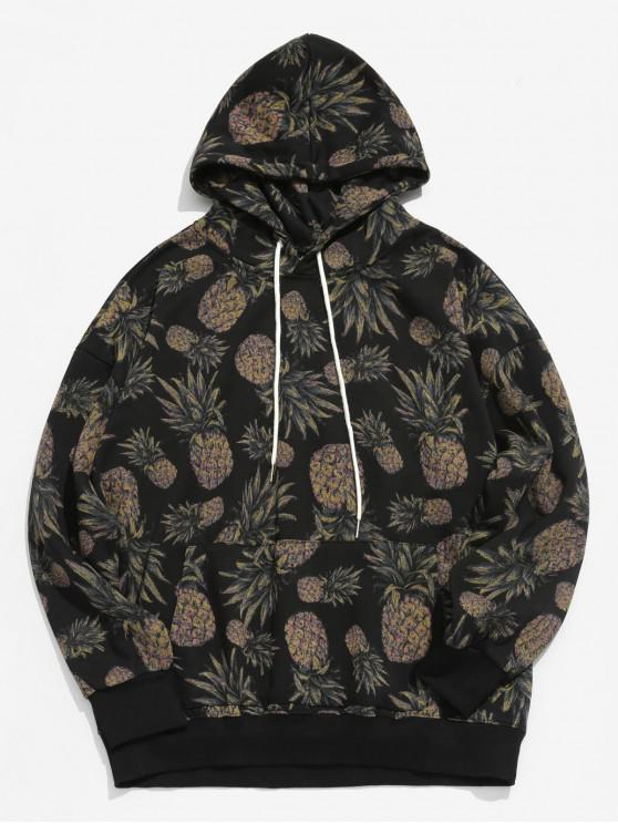 women Pineapple Printed Casual Hoodie - BLACK XL
