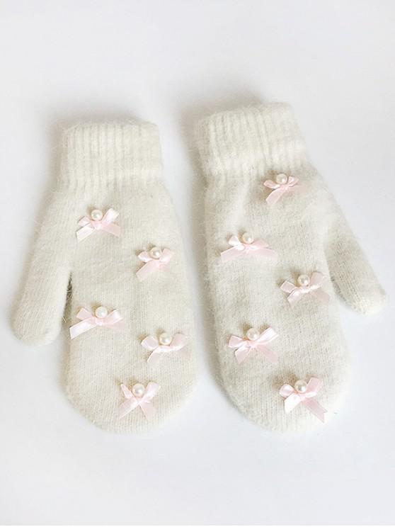fancy Bowknot Faux Pearl Mitten Gloves - BEIGE
