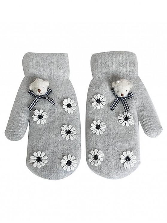 11 off 2019 cartoon bear floral winter gloves in gray. Black Bedroom Furniture Sets. Home Design Ideas