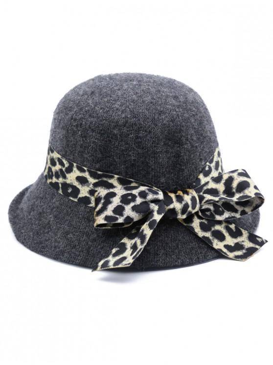 best Leopard Bowknot Elegant Bucket Hat - GRAY