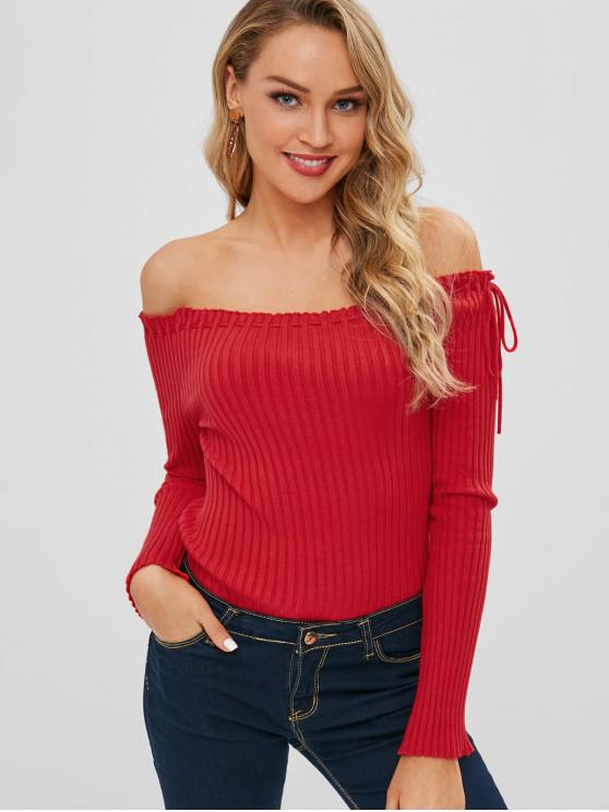 best Ribbed Off The Shoulder Sweater - RED ONE SIZE