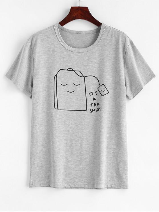 Чайная графическая футболка - Светло-серый M