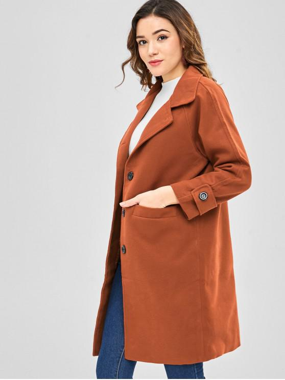 womens Single Breasted Straight Coat with Pocket - BROWN L