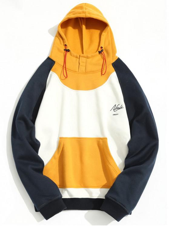 chic Fleeced Color Block Hoodie - WHITE L