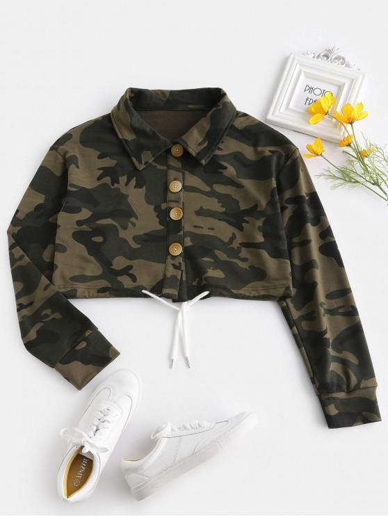 women's ZAFUL Button Fly Camo Crop Jacket - ACU CAMOUFLAGE L