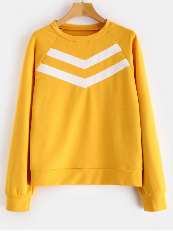 ZAFUL Sweat-shirt Tunique à Manches Raglan - Jaune d'Abeille S
