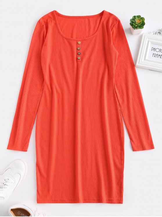 shops ZAFUL Fitted Long Sleeve Short Dress - BRIGHT ORANGE S
