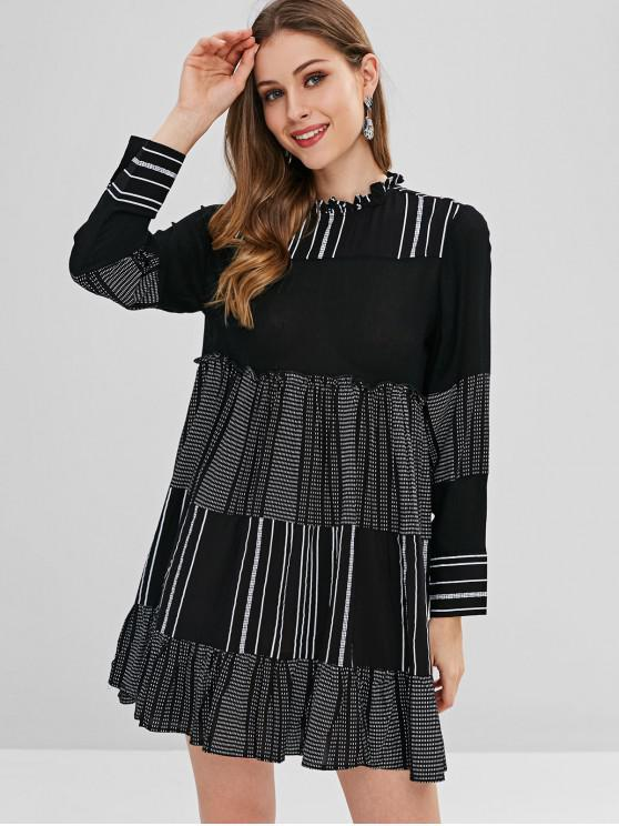 fancy Casual Stripes Tunic Mini Dress - BLACK M