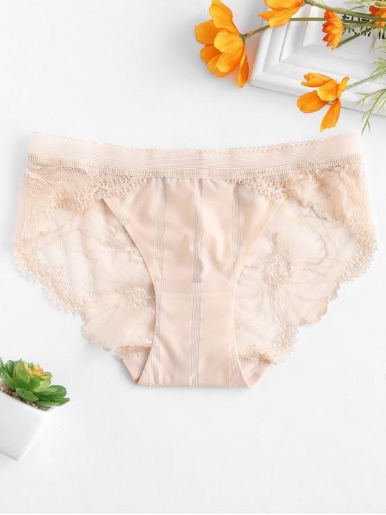 chic Lace Sheer Scalloped Briefs - ANTIQUE WHITE M