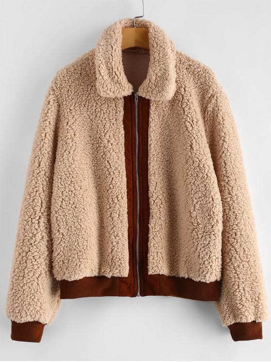 outfit Contrast Trim Fluffy Faux Fur Coat - CAMEL BROWN M