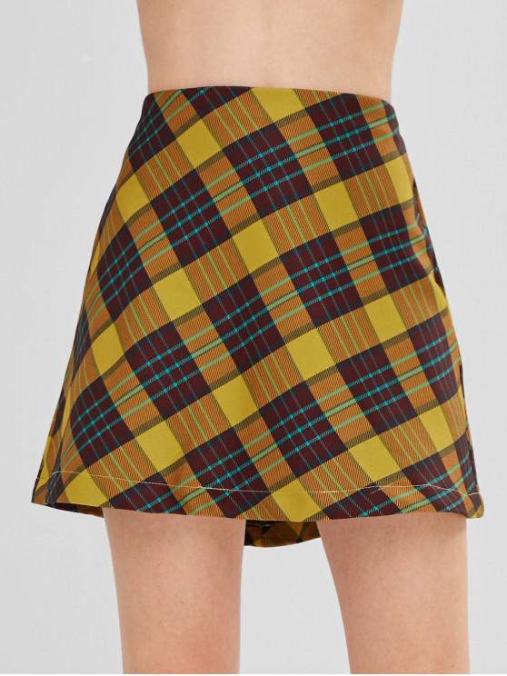 546abaadfdb9 28% OFF] 2019 High Waist Checked A Line Mini Skirt In GOLDENROD | ZAFUL