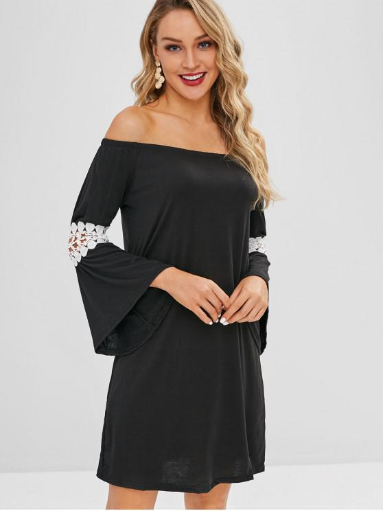 6b575cffc23e10 35% OFF  2019 Lace Inset Bell Sleeve Off The Shoulder Dress In BLACK ...