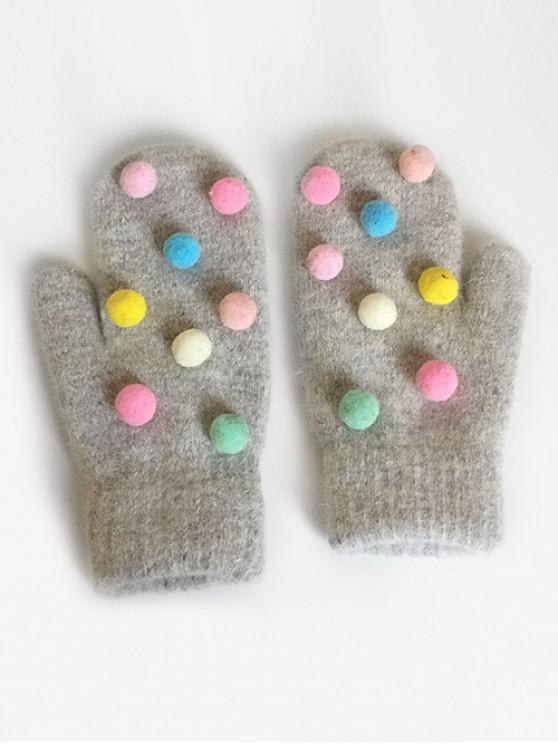 buy Novelty Fuzzy Balls Mitten Gloves - GRAY CLOUD