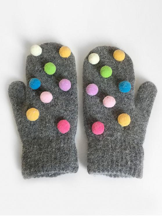 hot Novelty Fuzzy Balls Mitten Gloves - GRAY