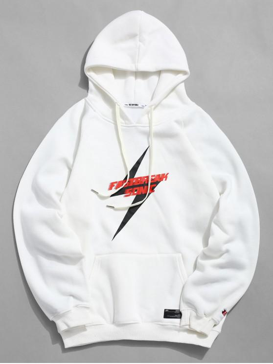 shops Kangaroo Pocket Fleece Lined Lightning Graphic Hoodie - WHITE M